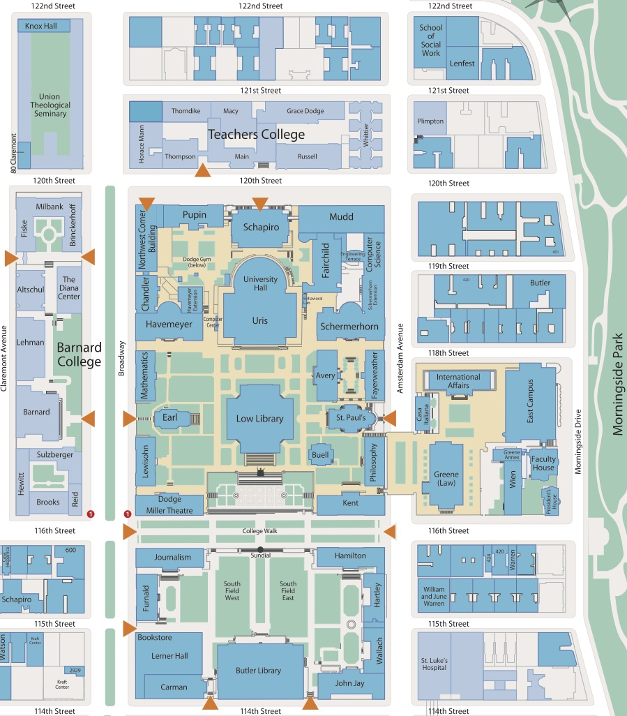 Morningside College Campus Map.Campus Map Teachers College Columbia University