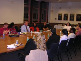 Students gather for an evening of informal dialouge with President Levine