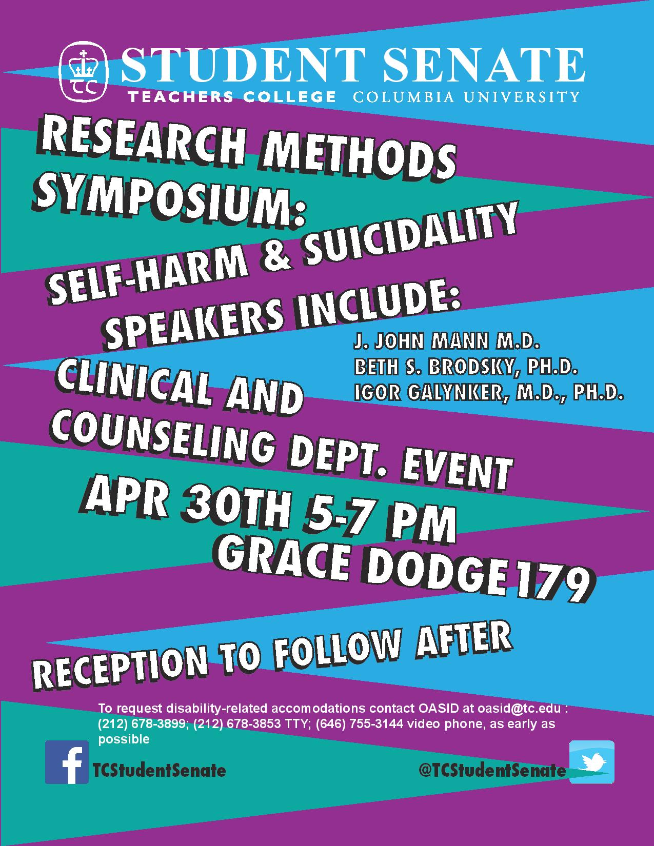 Research Methods Symposium: Self-Harm & Suicidality