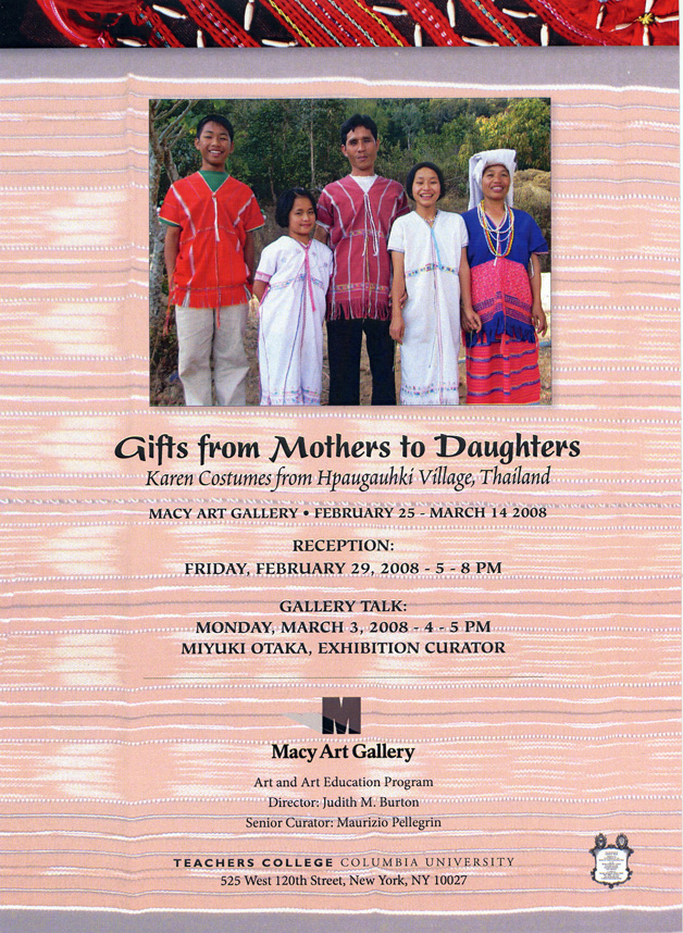 Macy gallery exhibition - gifts from mothers to daughters (back of card)