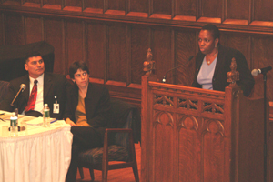 In the Photo: William Salzman, Suzanne Goldberg and Martha Stark speaks at LGBT Panel.