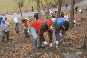 In the Photo: Students volunteer in the annual Columbia Community Outreach