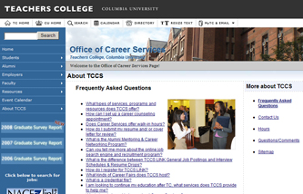 Career Services Web site screen