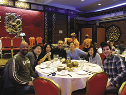 TCSOL program alumna Chen (third from right) and her students enjoy Dim Sum in New York City