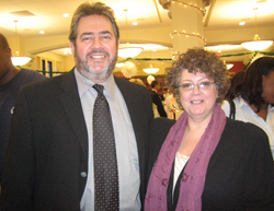 Steve Weinberg with Carole Saltz, Director, Teachers College Press