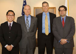 (From left) Archie Cubarrubia, of the Committee on Measures of Student Success; Thomas Bailey, Committee Chair; Arne Duncan, U.S. Secretary of Education; and Jack Buckley, Commissioner of the National Center for Education Statistics (Photo courtesy of the Community College Research Center)