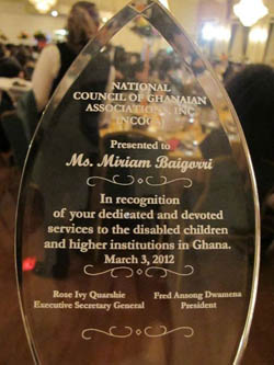 An award from the National Council of Ghanaian Associations for TC