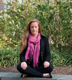 Eleanor Ford, a doctoral student in TC's clinical psychology program, is interested in teaching meditation to young children. (Photo by Heather Van Uxem Lewis)