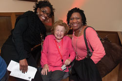 Sonya Jones, TC Telecommunications Analyst (left), Dr. Ruth Westheimer (Ed.D. '70) and former Counseling and Clinical Psychology Department Secretary Carol Pitter (Photo by Heather Van Uxem Lewis)