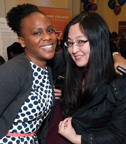 Clinical Psychology student Sharron Spriggs (left) and friend (Photo by Heather Van Uxem Lewis)