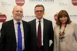 TC President Susan Fuhrman (right) with forum hosts Leonard Lopate (left) and Kurt Andersen (center)