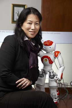 Sandra Okita and Projo the robot