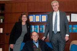Support from TC Trustee Marla Schaefer enabled the College to renovate the offices of its International Center for Cooperation and Conflict Resolution. ICCCR was founded by Morton Deutsch (seated) and is currently directed by Peter Coleman (right). (Photo by Heather Van Uxem Lewis)