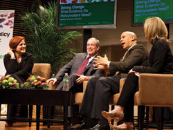 Former NYC Council Speaker Christine Quinn, NYC Comptroller Scott Stringer, U.S. Senator Cory Booker and Madelyn Fernstrom of NBC News at TC conference on food policy.