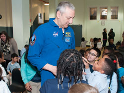 Mike Massimino, NASA Astronaut at Teachers College Community School (Photo by Heather Van Uxem Lewis)