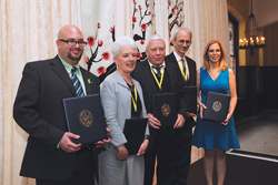 Recipients of TC's 2014 Distinguished Alumni Awards (from left): Eric Shyman, Kate Parry, David Johnson, James Gordon and Deborah Kenny(Photo by Bruce Gilbert)