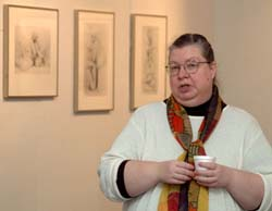 TC instructor Lori Don Levan speaks at Fat Attitudes exhibit