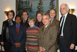 The Afghan planning group: (back) Nancy Lesko, Najmudin Saqib, Ruth Vinz, Barry Rosen, Clifford Hill, (front) Waheed Hassan, Jane Monroe and Richard Navarro.