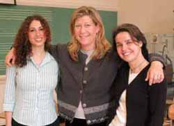 TC doctoral students Merav Gur and Arielle Shanok with Professor Lisa Miller (center).