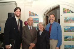 Peace Corps Fellow Program Coordinator Reed Dickson, Elliot and Roslyn Jaffe, and founding Coordinator Daniel Tamulonis.