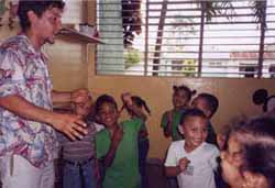 Kozol with Students at Estancias Infantiles, in Moca, Dominican Republic.