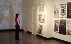 Anti-war posters adn videos are on view at the Macy Gallery.