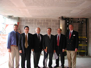 Steve Weinberg, Budget Director, TC; Carl Valentino, RC Dolner (construction contractor); Fred Schnur, VPFA, TC; Tony Dolce, RC Dolner (construction contractor); Paul Broches, Mitchell/Guirgola (architect); and Mike Hanna, Granary Associates (project manager).
