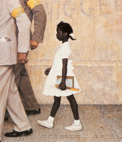 """The Problem We All Live With"" by Norman Rockwell depicts Ruby Bridges being escorted to school by federal marshalls."