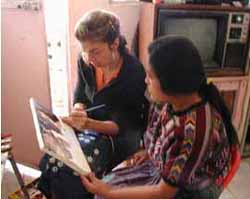 Kryssi Staikidis with Paula Nicho Cumes, a Mayan Kaqchikel painter.