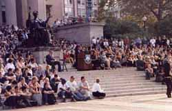 Columbia gathers on the steps of Low Library