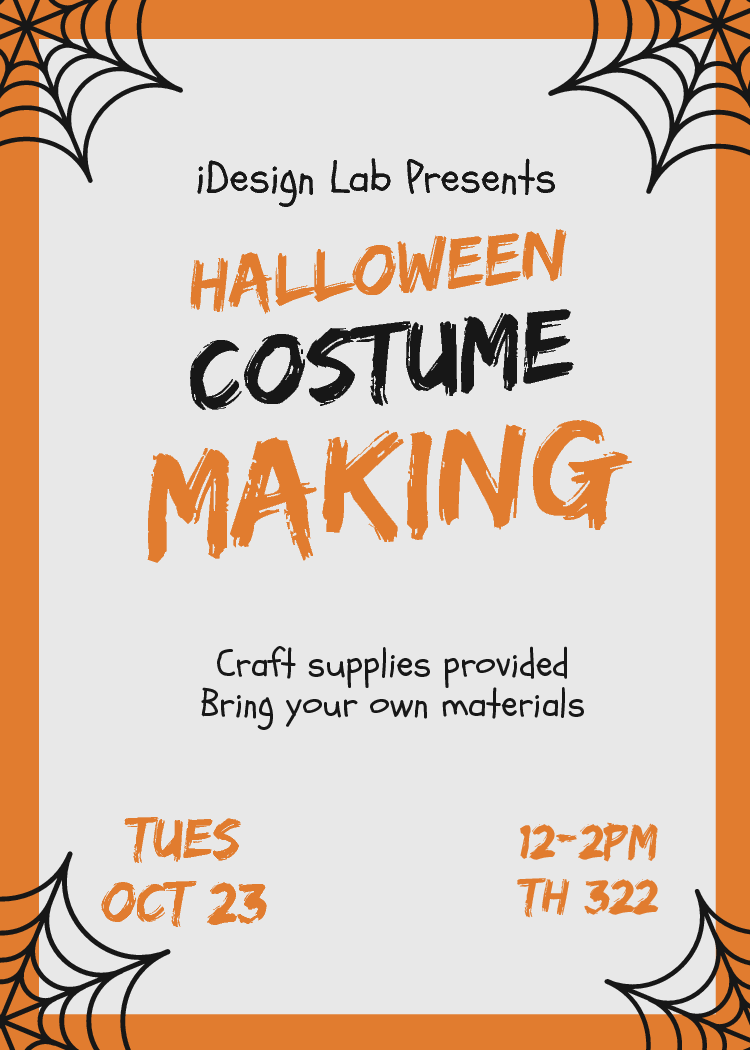 Halloween Costume Making. Craft Supplies Provided. Bring your own materials