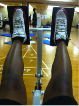 Image of feet on an exercise machine