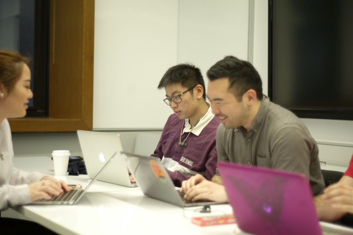 Learning Analytics students working in class Spring 2019