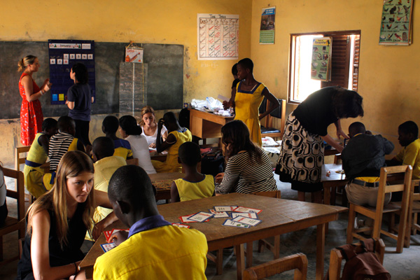 WALKING THE TALK An inclusion school for students with intellectual disabilities and autism in Effiduasi, Ghana, where, led by faculty member Catherine Crowley, students in TC's Speech Language Pathology program have worked for the past 10 years with Belinda Bukari, Head Teacher. (Photo: Josh Hays)