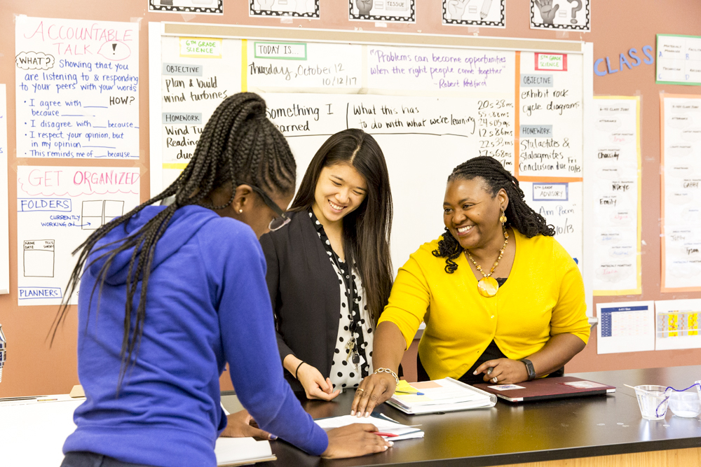 Felicia Moore Mensah with her students.