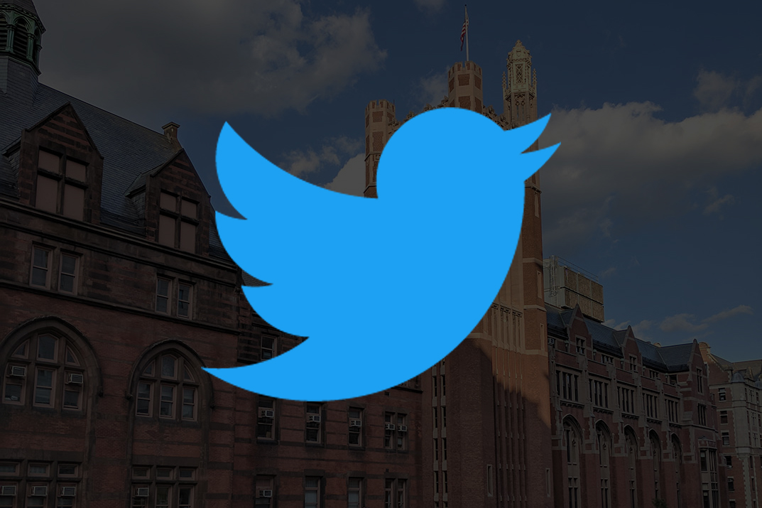 Twitter icon displayed over a picture of a TC campus building