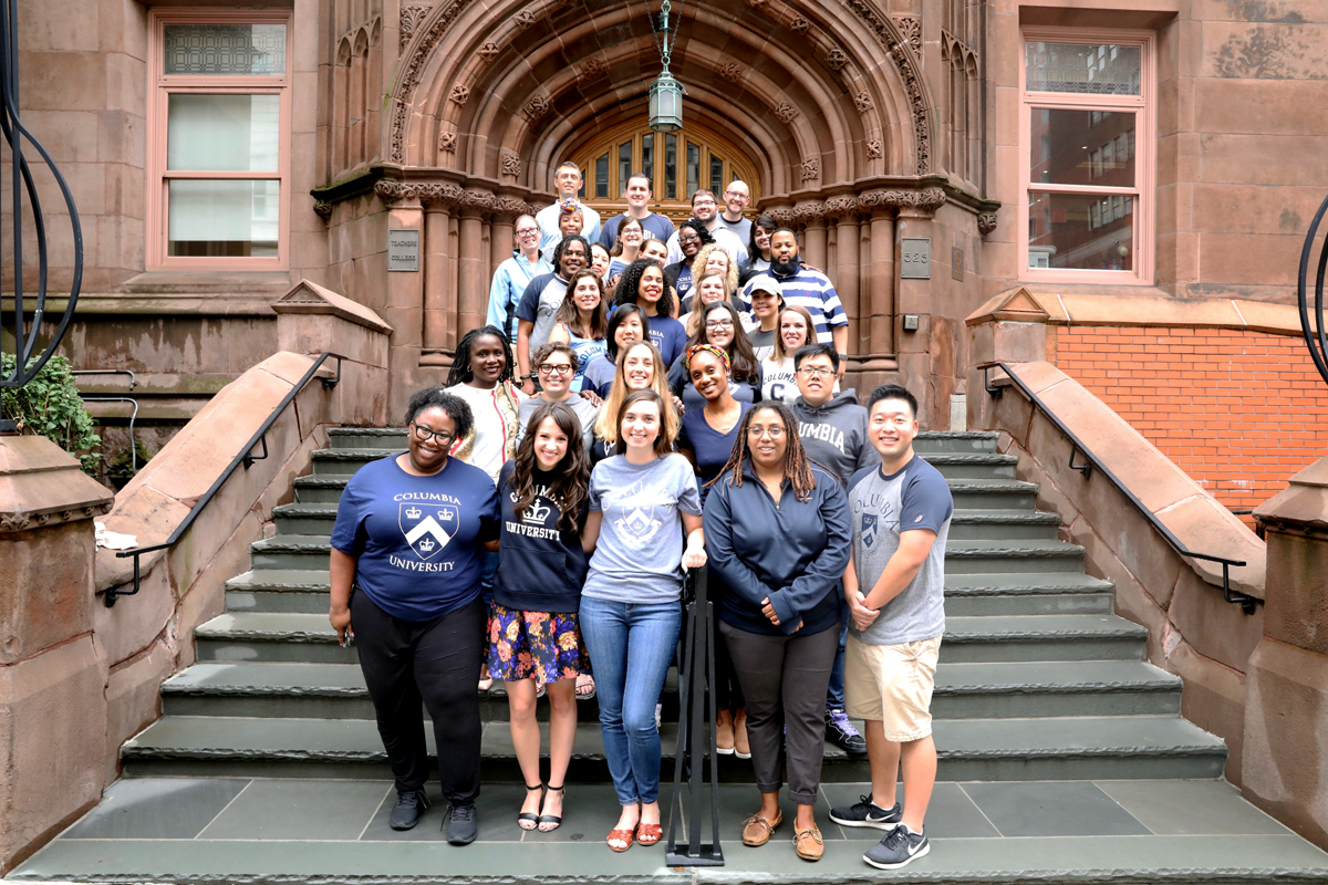 The SPA NYC Cohort poses in front of Teachers College