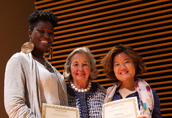 TC Trustee Joyce B. Cowin (M.A. '52) with Cowin Program alumni Kendra Banks (left) and Jean Duong.