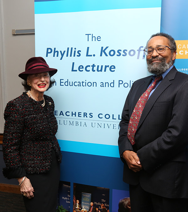 TC alumna Phyllis Kossoff, who funds TC's annual Phyllis L. Kossoff Lecture on Education & Policy, with Clinton adviser Christopher Edley.