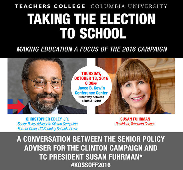 Join us on Oct 13th for a conversation on education and the 2016 election. Click to RSVP.