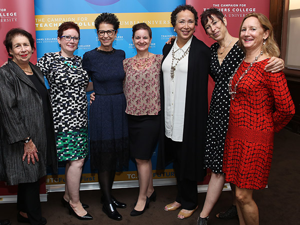 Dance Theatre of Harlem Artistic Director Virginia Johnson (third from right) with TC Liaison Committee for Dance Education members (left to right) Eileen Goldblatt, Barbara Bashaw, Jody Gottfried Arnhold, Kathleen Isaac, Joan Finkelstein, and Catherine Tharin.