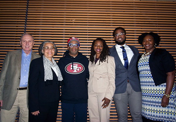 Director Spike Lee (third from left) with (from left) TC Provost Tom James; Janice Robinson, Vice President for Diversity & Community Affairs; Yolanda Sealey-Ruiz, Associate Professor of English Education; Patrick Gladston Williamson (M.A. '16); and Felicia Mensah, Professor of Science Education.