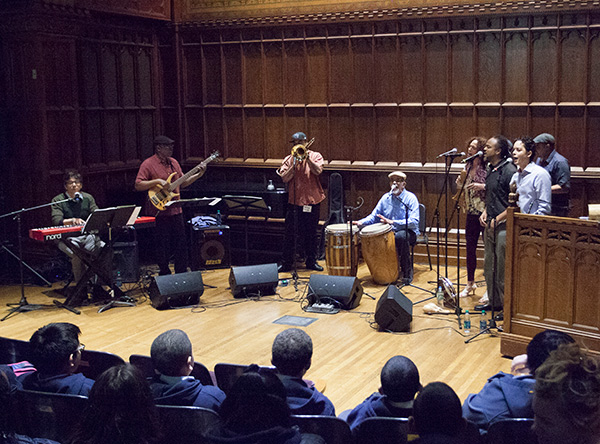 Los Pleneros de la 21 kicks it up in Milbank Chapel (Photo Credit: Nicole Marenbach)