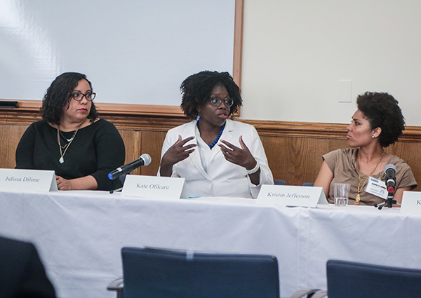"THINKING AHEAD Kate Ofikuru (center) urged preservice teachers of color to ""find a school not just where the administrators look like you, but where they believe in you."""