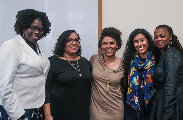 CORRECTING AN IMBALANCE (From Left) Panelists Kate Ofikuru, Julissa Dilone, Kristin Jefferson and Karina Malik with TC faculty member Yolanda Sealey Ruiz. With a majority non-white public school student population, the TOC II program seeks to recruit more teachers of color.