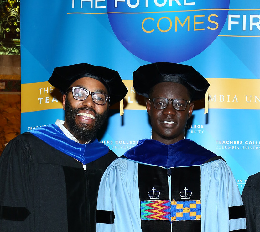 Dr. Christopher Emdin, and his former student, Dr. Edmund Adjapong, at TC's Doctoral Hooding ceremony. (Photo Courtesy of Teachers College)