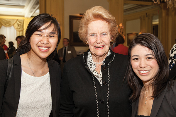 Abby M. O'Neill (center) in 2013 with O'Neill Fellows Bonnie Chow (left) and Kimberly Iwansky