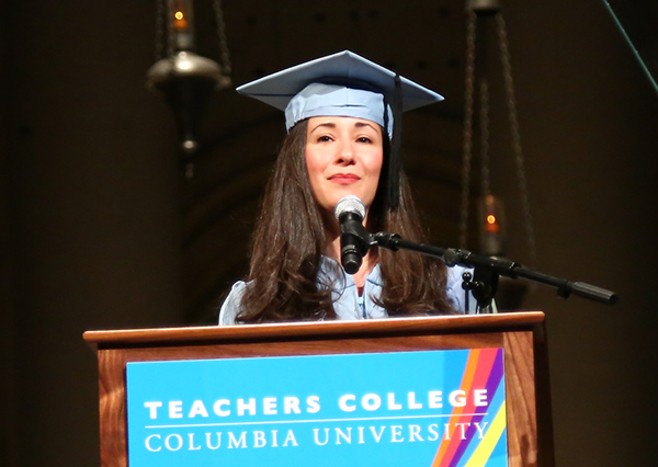 UNDERSTANDING WHAT MATTERS Student speaker Jamie Librot recounted that, following personal tragedy, she listened to family, friends and colleagues who counseled taking time to heal.