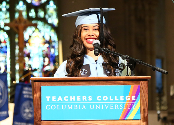 "CHALLENGING THE SUPERWOMAN STEREOTYPE Student speaker Kenya Crawford said that TC taught her that that ""my strength emits from the energy gained from those around me."""