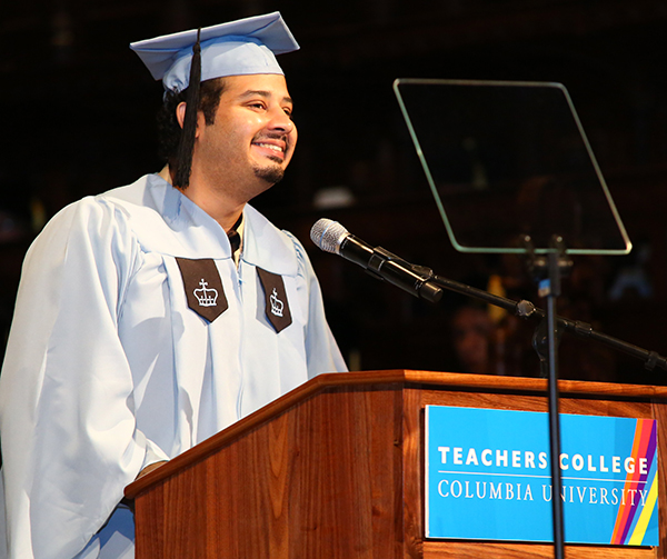 "TRANSFORMED BY TC Student speaker Usama Javed Mirza called TC ""a fortress for social justice"" where he felt welcomed from the start."